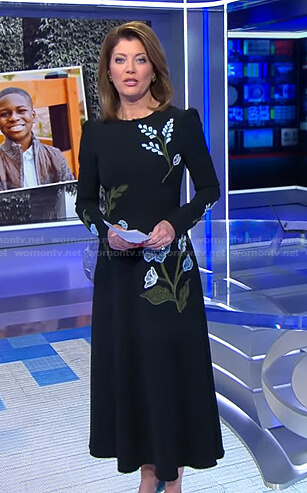 Norah's black floral embroidered dress on CBS Evening News