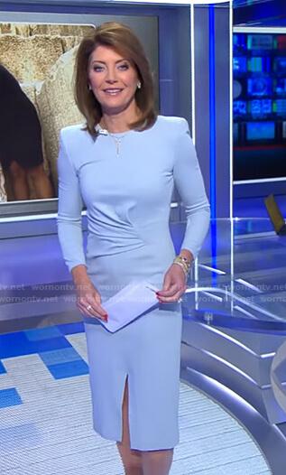 Norah's blue gathered waist dress on CBS Evening News