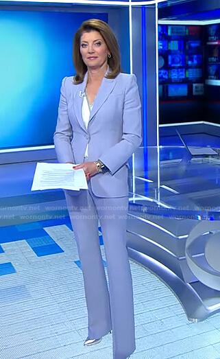 Norah's lilac suit on CBS Evening News