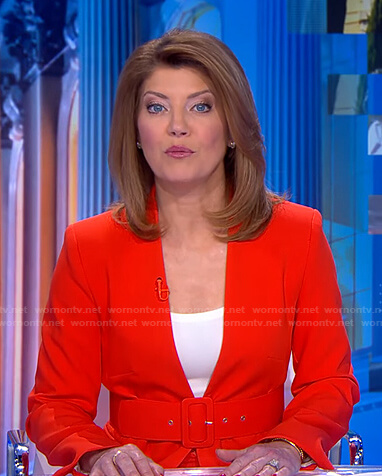 Norah's red lapelless blazer on CBS Evening News