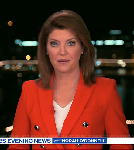 Norah's red double breasted blazer on CBS Evening News