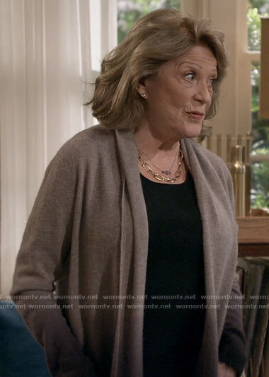 Norma's taupe ombre cardigan on B Positive