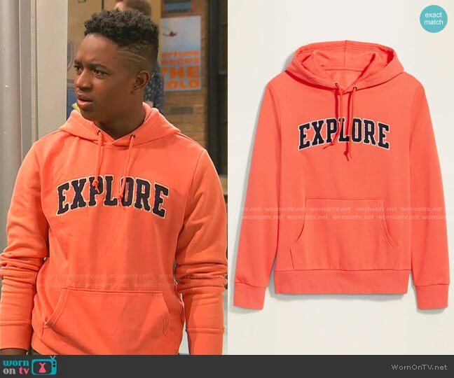 Graphic Pullover Hoodie by Old Navy worn by Booker Baxter (Issac Ryan Brown) on Ravens Home
