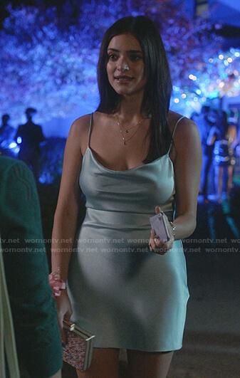 Olive's blue cowl neck satin mini dress on Manifest