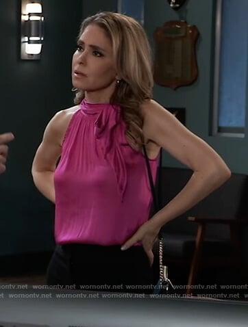 Olivia's pink tie neck halter top on General Hospital