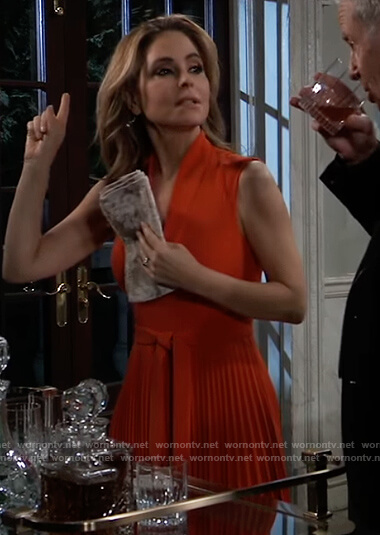 Olivia's red pleated tie waist dress on General Hospital
