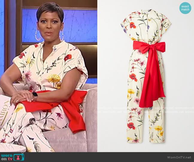Bow-detailed floral-print cotton-blend poplin jumpsuit by Oscar de la Renta worn by Tamron Hall  on Tamron Hall Show