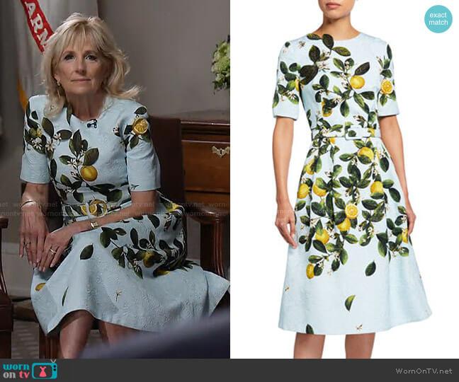 Lemon Print Belted Midi Dress by Oscar de la Renta worn by Jill Biden on Today