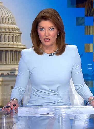 Norah's blue gathered waist dress on CBS Evening News