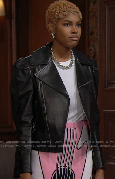 Paris's pink guitar print skirt and leather jacket with crystal owl on The Bold and the Beautiful