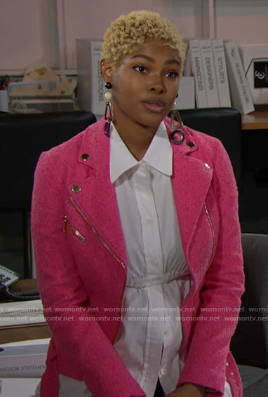 Paris's pink tweed moto jacket on The Bold and the Beautiful