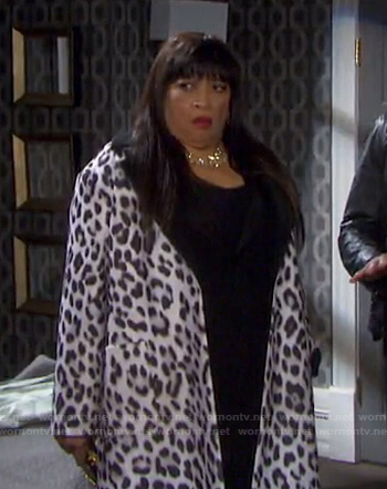 Paulina Price's leopard wrap coat on Days of our Lives