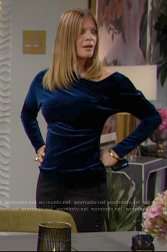 Phyllis's blue velvet top on The Young and the Restless