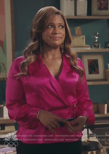 Mika's pink satin wrap blouse on Kenan