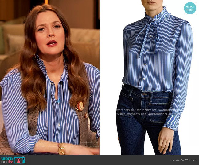 Ruffled Striped Silk Blouse by Ralph Lauren worn by Drew Barrymore  on The Drew Barrymore Show