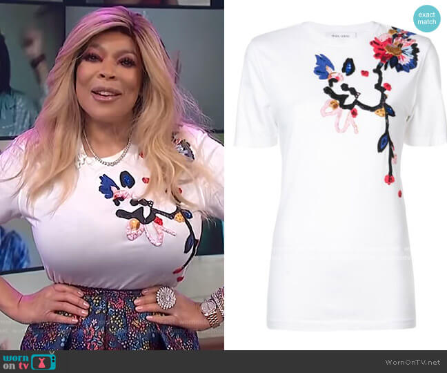 Floral Embroidered T-shirt by Prabal Gurung worn by Wendy Williams  on The Wendy Williams Show