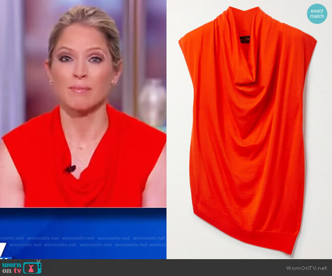 Asymmetric draped merino wool top by Proenza Schouler worn by Sara Haines  on The View