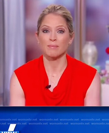 Sara's red drape neck top on The View