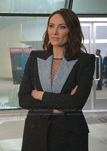 Quinn's black contrast collar coat on Younger