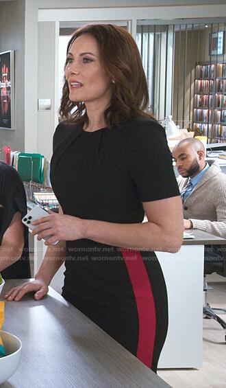 Quinn's black contrast stripe dress on Younger