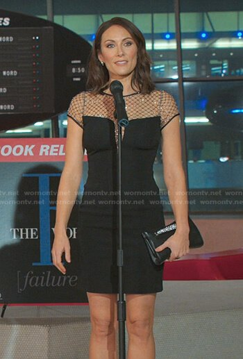 Quinn's black embellished mesh panel dress on Younger