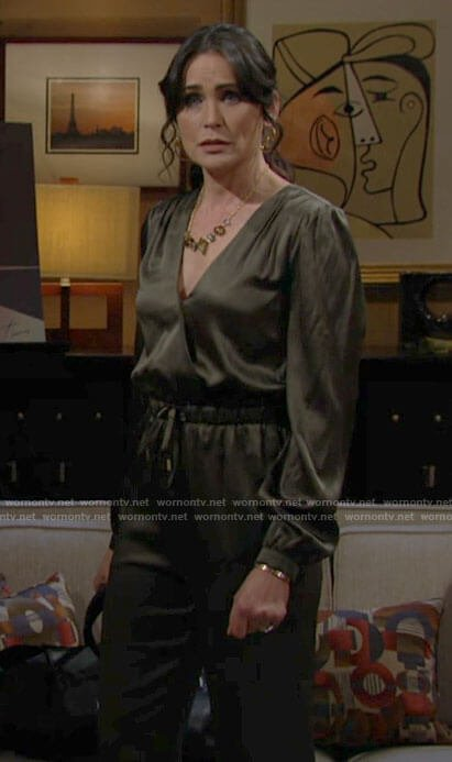 Quinn's green satin jumpsuit on The Bold and the Beautiful