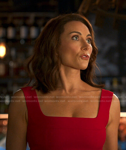 Quinn's red square neck dress on Younger