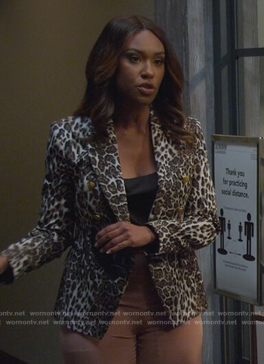 Rachel's leopard print double breasted blazer on All Rise