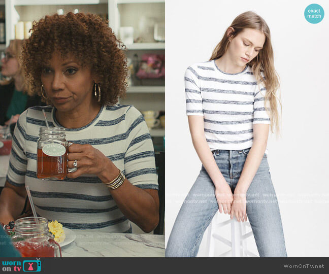 Fitted T-Shirt by Rag and Bone worn by Tami Gaines (Holly Robinson Peete) on American Housewife