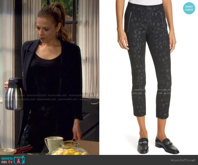 Simone Leopard Print Zip Pocket Pants by Rag & Bone worn by Ava Vitali (Tamara Braun ) on Days of our Lives
