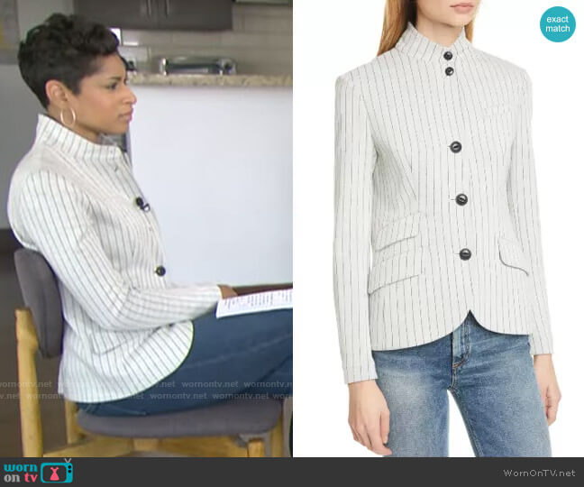 Rag & Bone Slade Pinstripe Cotton Blazer worn by Jericka Duncan  on CBS This Morning