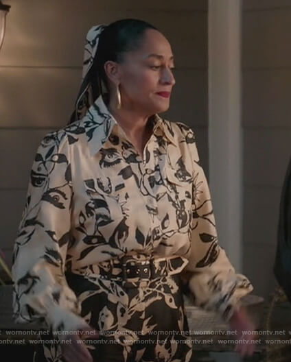 Rainbow's floral print contrast blouse and pants on Black-ish