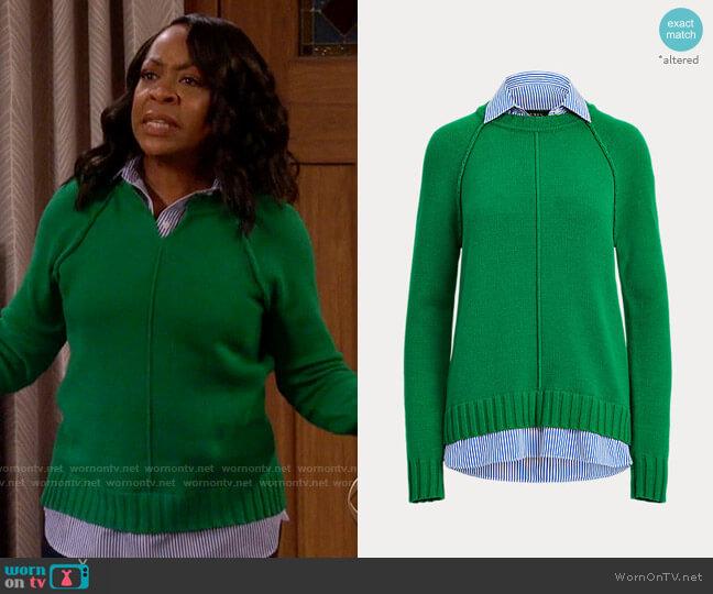LAUREN Ralph Lauren Layered Cotton Sweater worn by Tina (Tichina Arnold) on The Neighborhood