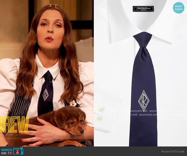 Monogram Silk Tie by Ralph Lauren worn by Drew Barrymore  on The Drew Barrymore Show