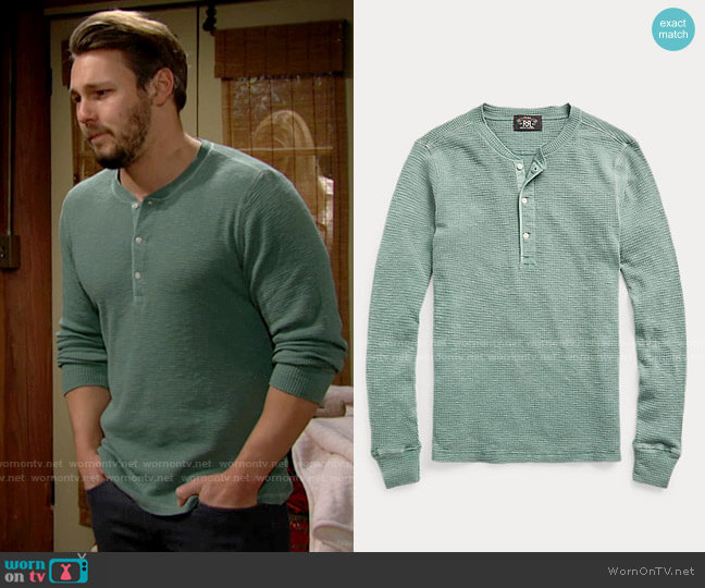 Ralph Lauren Waffle Knit Henley worn by Liam Spencer (Scott Clifton) on The Bold & the Beautiful