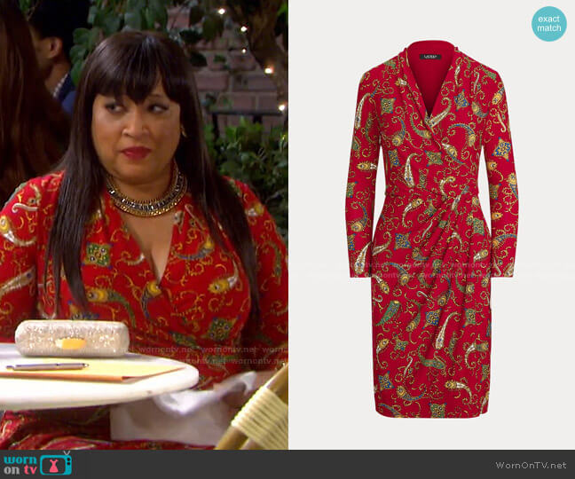 Pleated Paisley Jersey Dress by Ralph Lauren worn by Paulina Price (Jackée Harry) on Days of our Lives