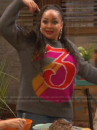 Raven's grey 3 print sweater on Ravens Home