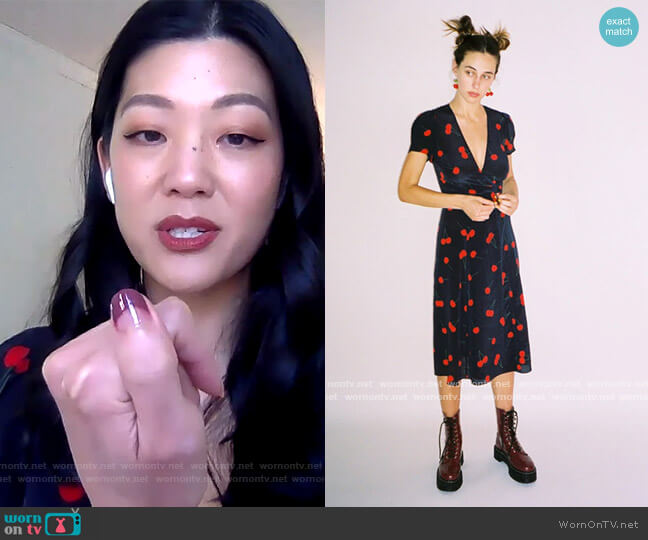 The Teale in Wild Cherry by Realisation worn by Michelle Lee on The Drew Barrymore Show