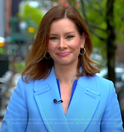 Rebecca's blue double breasted coat on Good Morning America