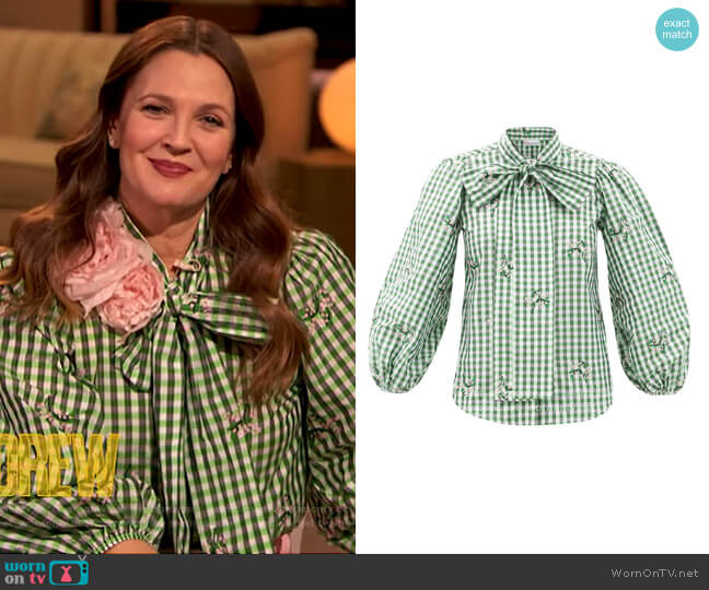 Gingham Pussy Bow Blouse by RED Valentino worn by Drew Barrymore  on The Drew Barrymore Show
