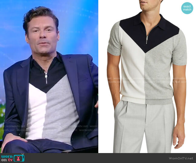 Butler Colorblock Wool Blend Zip Polo by Reiss worn by Ryan Seacrest on Live with Kelly and Ryan 2Savetumblr +Insta +