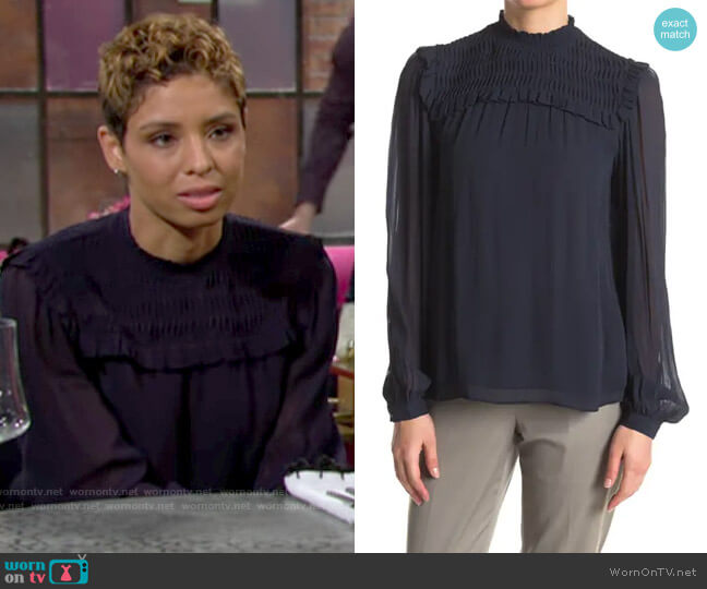 Reiss Anoushka Blouse worn by Elena Dawson (Brytni Sarpy) on The Young & the Restless