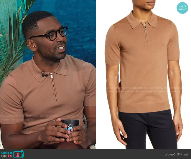 Maxwell Zip Wool Polo by Reiss worn by Justin Sylvester  on E! News