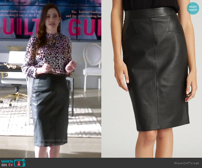 Reiss Reagan Leather Skirt worn by Andrea Rojas (Julie Gonzalo) on Supergirl