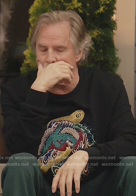 Rick's black feather embroidered sweatshirt on Kenan