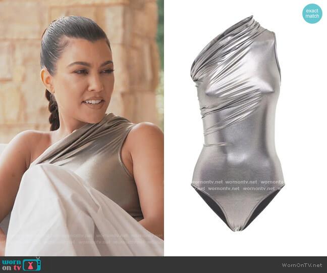 Metallic one Shoulder Swimsuit by Rick Owens worn by Kourtney Kardashian  on Keeping Up with the Kardashians