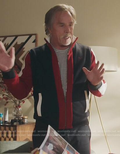Rick's colorblock jacket and pants on Kenan
