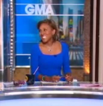 Robin's blue square neck dress on Good Morning America