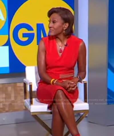 Robin's orange v-neck dress on Good Morning America