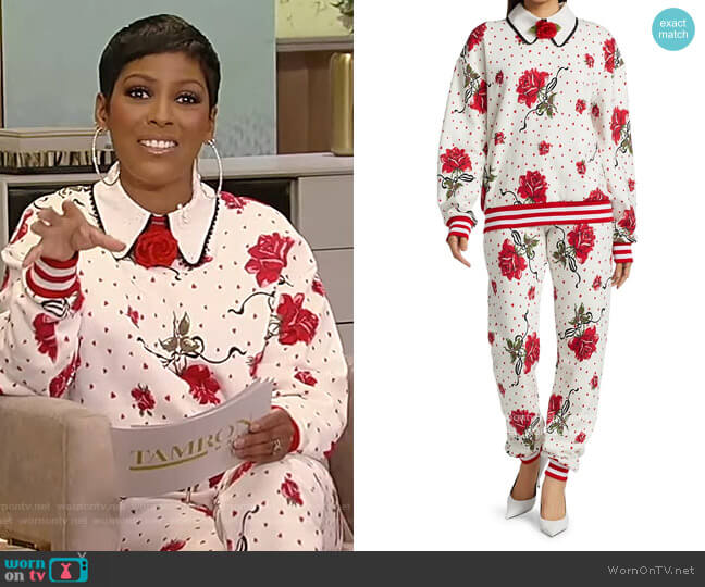 Collared Rose-Print Sweatshirt and Sweatpants by Rodarte worn by Tamron Hall  on Tamron Hall Show
